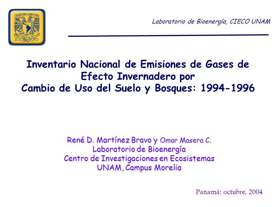 Inventario Nacional de Emisiones de Gases de Efecto Invernadero por Cambio de Uso del Suelo y Bosques: 1994-1996 Laboratorio de Bioenergía, CIECO UNAM René D.