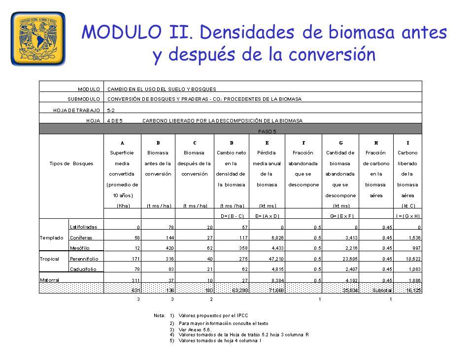 MODULO II. Densidades de biomasa antes y después de la conversión
