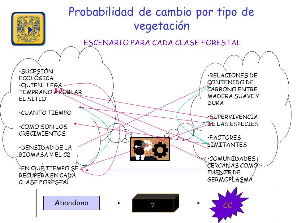 Probabilidad de cambio por tipo de vegetación ESCENARIO PARA CADA CLASE FORESTAL RELACIONES DE CONTENIDO DE CARBONO ENTRE MADERA SUAVE Y DURA SUPERVIVENCIA DE LAS ESPECIES FACTORES LIMITANTES COMUNIDADES CERCANAS COMO FUENTE DE GERMOPLASMA SUCESIÓN ECOLÓGICA QUIEN LLEGA TEMPRANO A POBLAR EL SITIO CUANTO TIEMPO COMO SON LOS CRECIMIENTOS DENSIDAD DE LA BIOMASA Y EL C2 EN QUE TIEMPO SE RECUPERA EN CADA CLASE FORESTAL | Abandono .