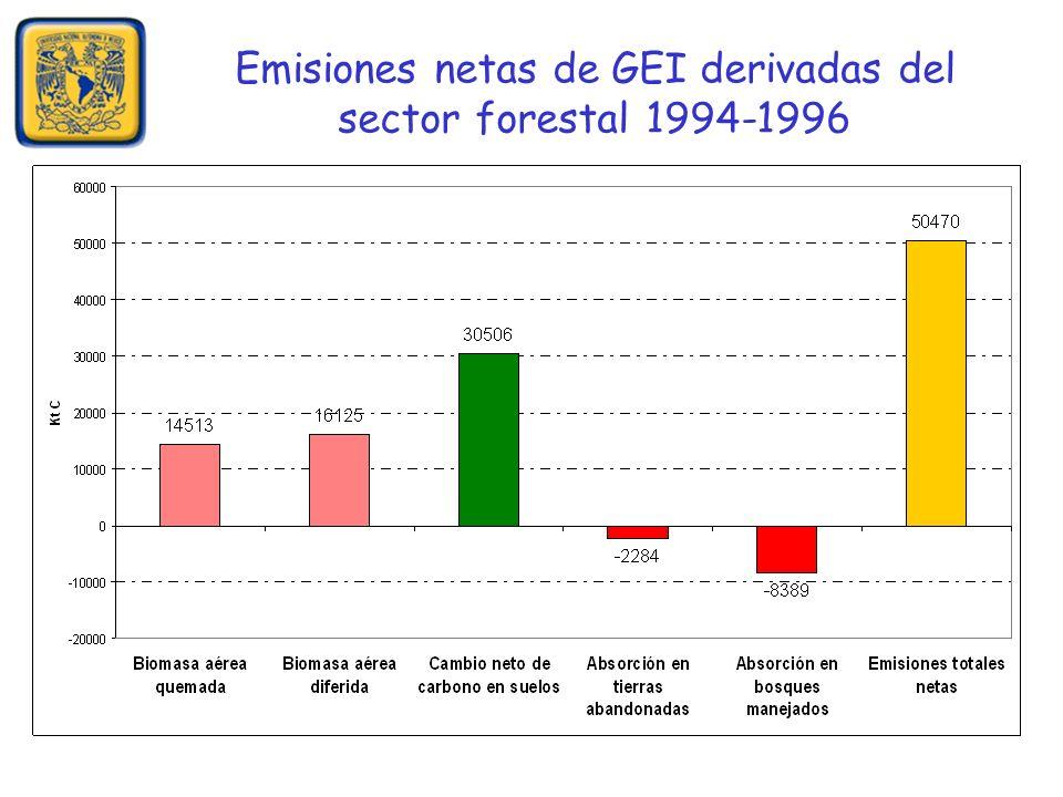 Emisiones netas de GEI derivadas del sector forestal 1994-1996