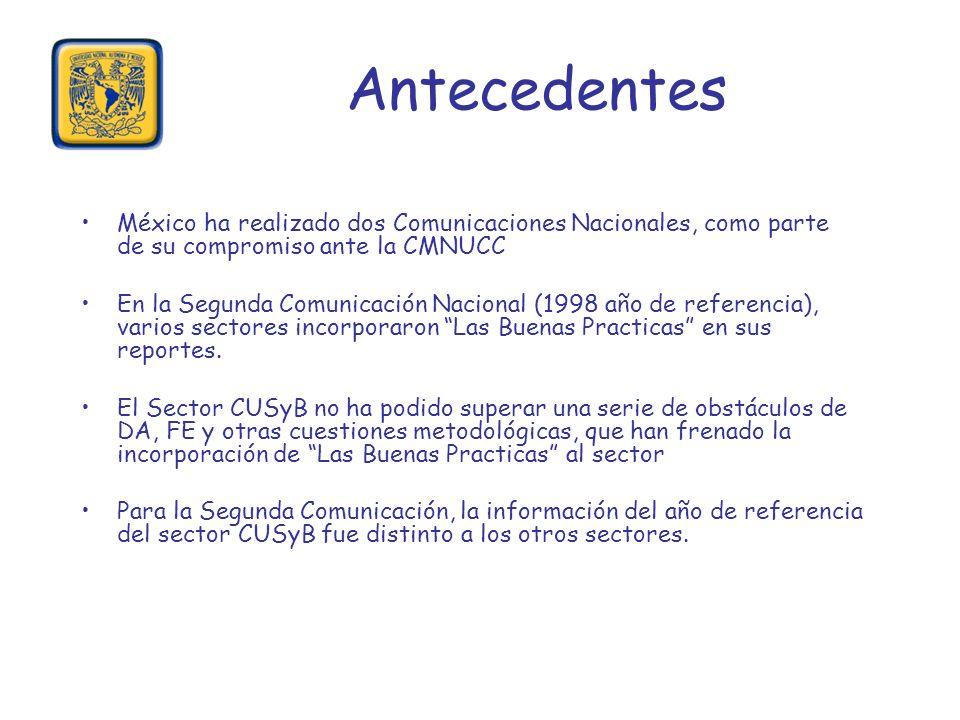 Antecedentes México ha realizado dos Comunicaciones Nacionales, como parte de su compromiso ante la CMNUCC En la Segunda Comunicación Nacional (1998 a
