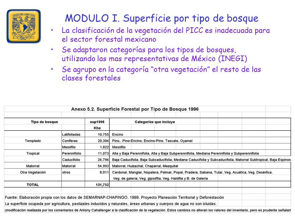MODULO I. Superficie por tipo de bosque La clasificación de la vegetación del PICC es inadecuada para el sector forestal mexicano Se adaptaron categor