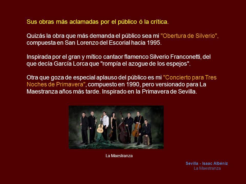 Sus principales Maestros Para comenzar mi Maestra América Martínez, mi madre musicalmente hablando, con ella comencé y finalicé mis estudios oficiales de Guitarra en el Conservatorio de Sevilla.