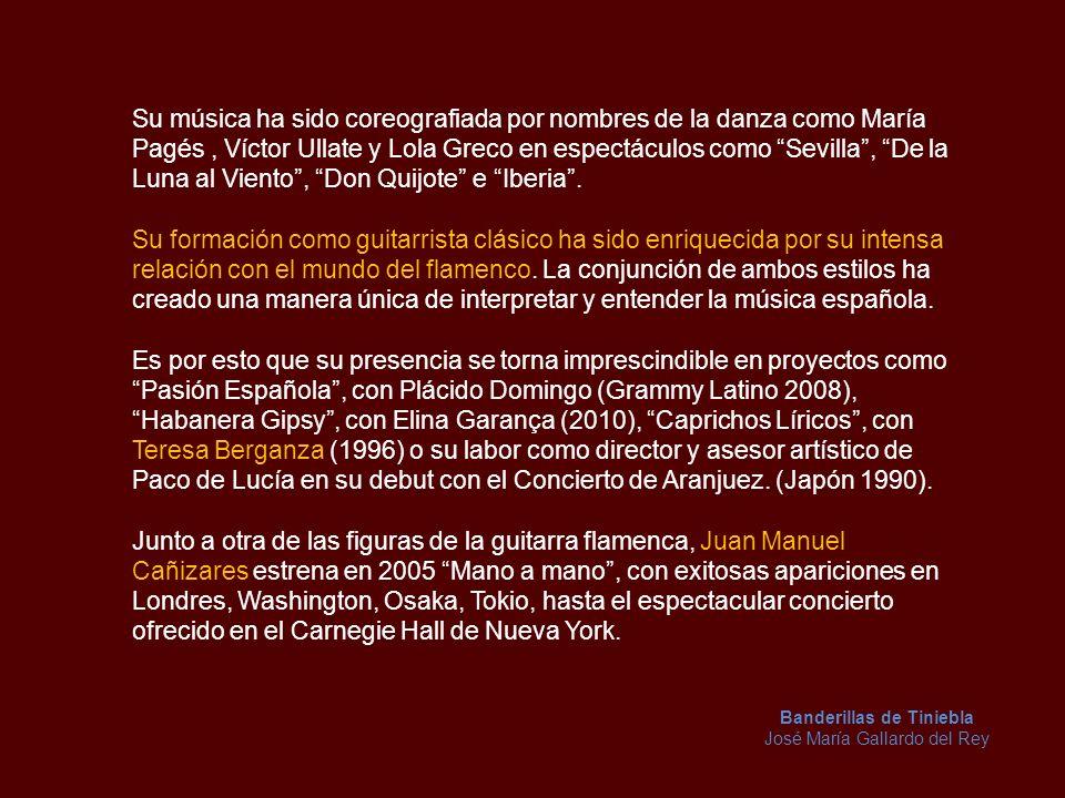 Embajador musical de España, su presencia es requerida frecuentemente en conciertos y eventos culturales como: EXPO 92, autor e intérprete de la Banda Sonora del Pabellón de España.