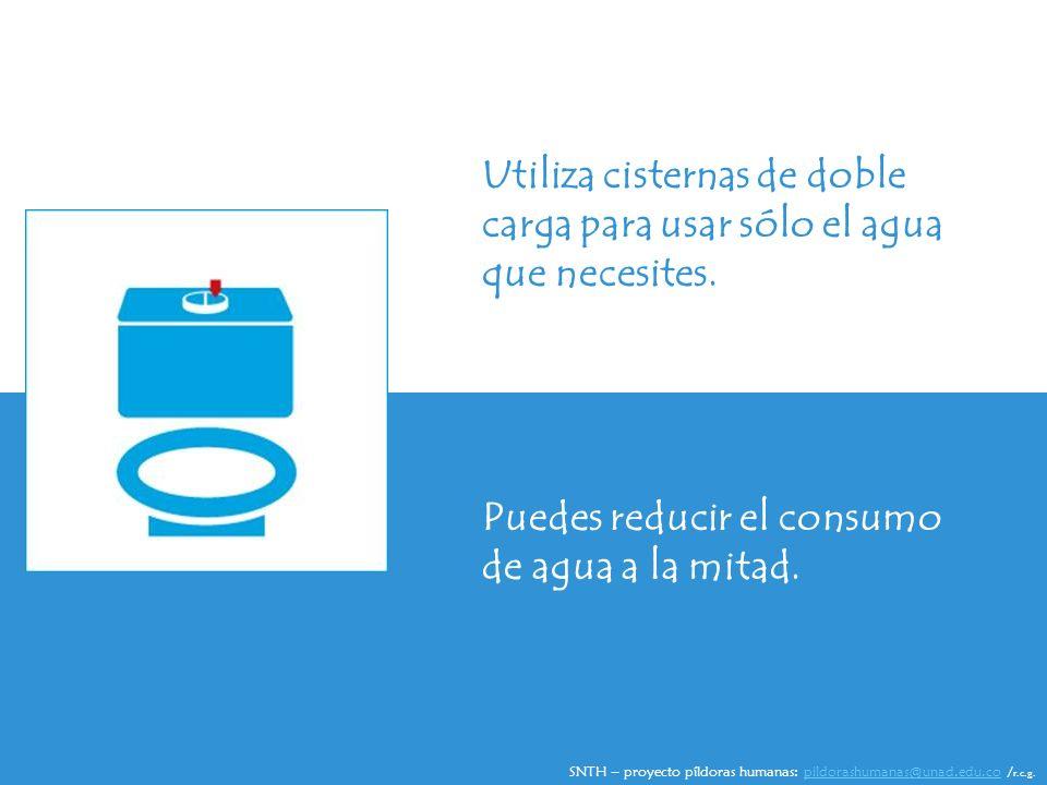Utiliza cisternas de doble carga para usar sólo el agua que necesites.