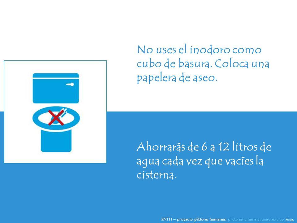 No uses el inodoro como cubo de basura. Coloca una papelera de aseo.