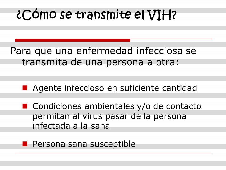 ¿Cómo se transmite el VIH? Para que una enfermedad infecciosa se transmita de una persona a otra: Agente infeccioso en suficiente cantidad Condiciones