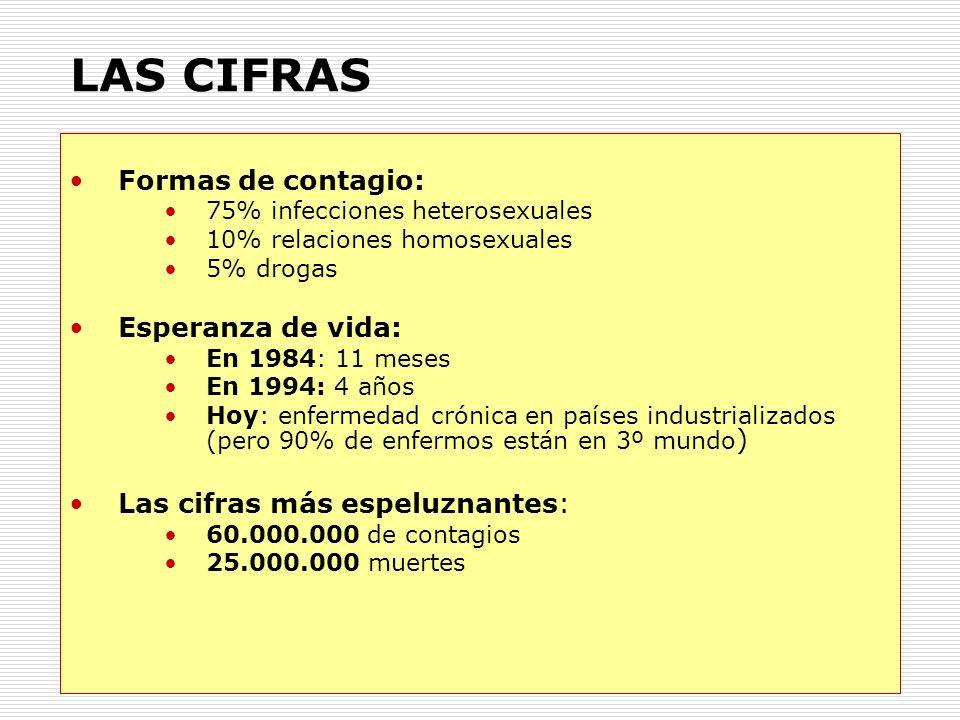 LAS CIFRAS Formas de contagio: 75% infecciones heterosexuales 10% relaciones homosexuales 5% drogas Esperanza de vida: En 1984: 11 meses En 1994: 4 añ