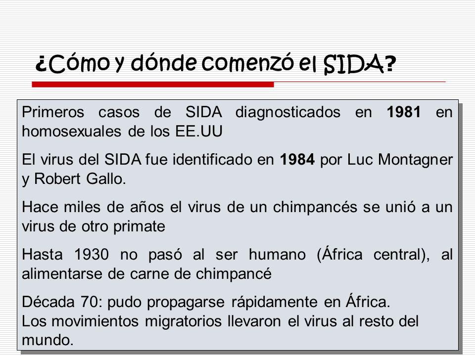 ¿ Cómo y dónde comenzó el SIDA ? Primeros casos de SIDA diagnosticados en 1981 en homosexuales de los EE.UU El virus del SIDA fue identificado en 1984