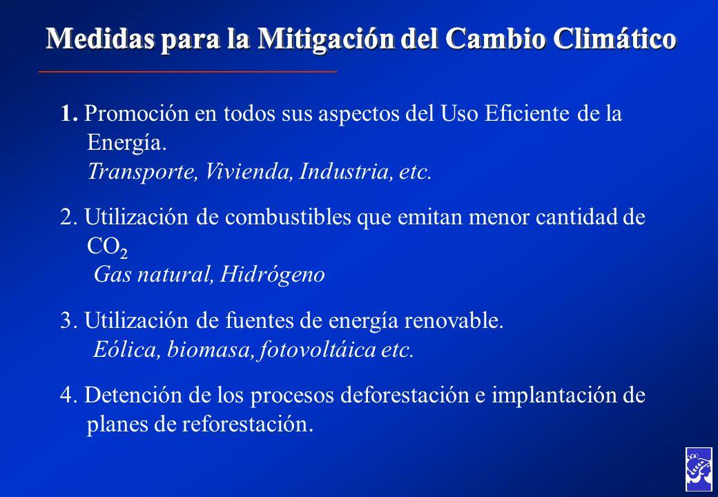 Medidas para la Mitigación del Cambio Climático 1. Promoción en todos sus aspectos del Uso Eficiente de la Energía. Transporte, Vivienda, Industria, e