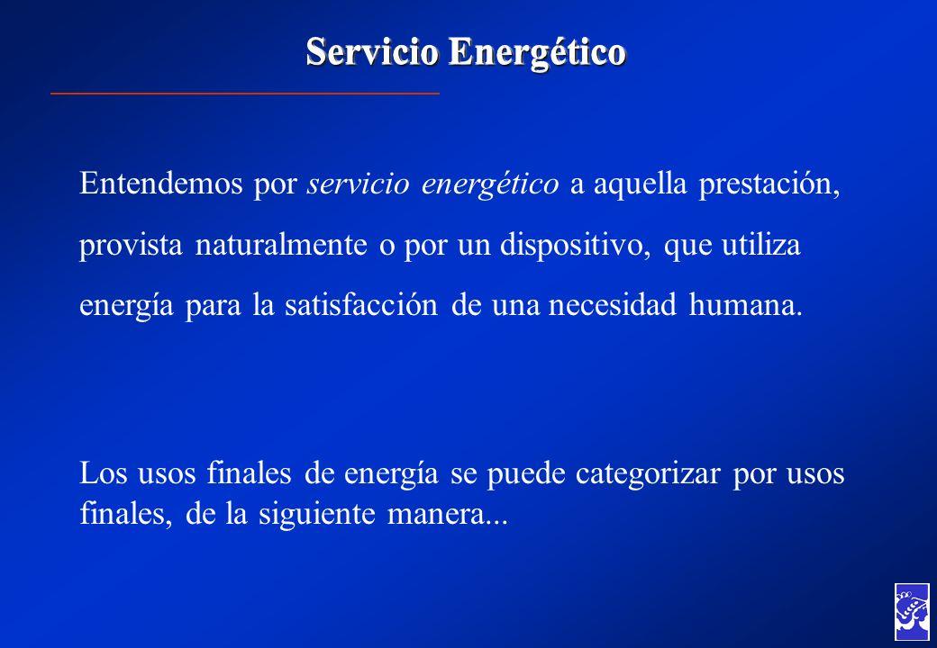 Servicio Energético Entendemos por servicio energético a aquella prestación, provista naturalmente o por un dispositivo, que utiliza energía para la s
