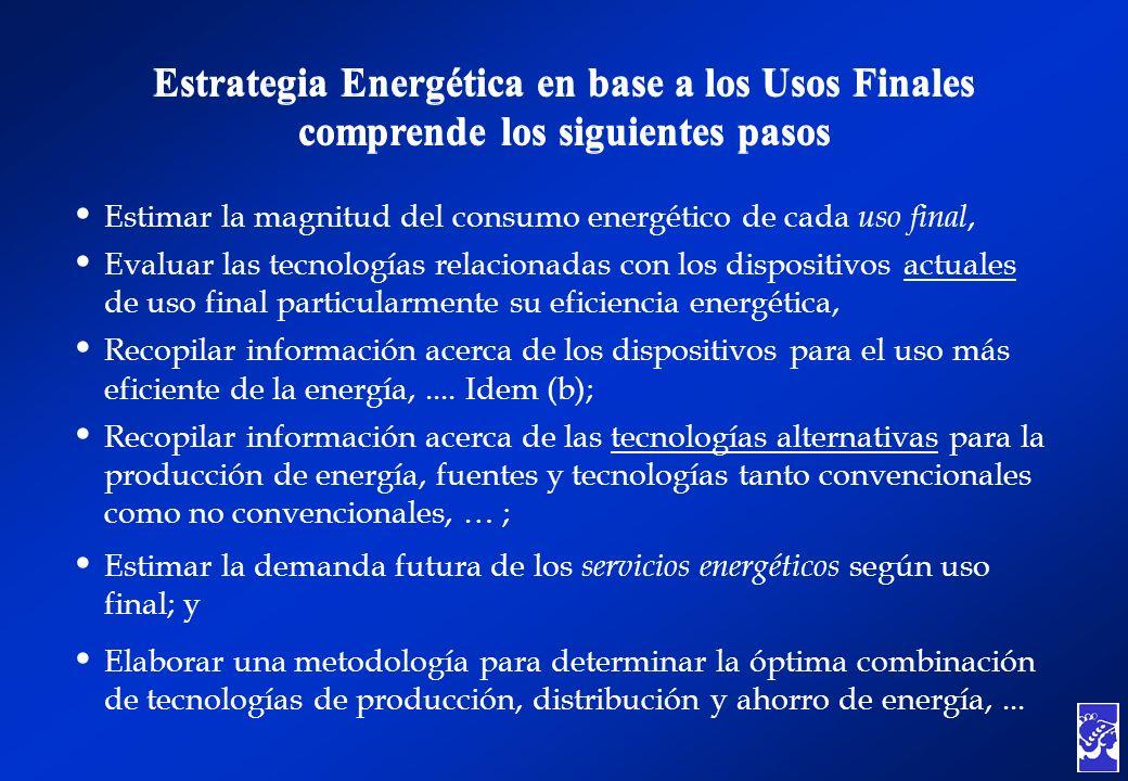 Estrategia Energética en base a los Usos Finales comprende los siguientes pasos Estrategia Energética en base a los Usos Finales comprende los siguien