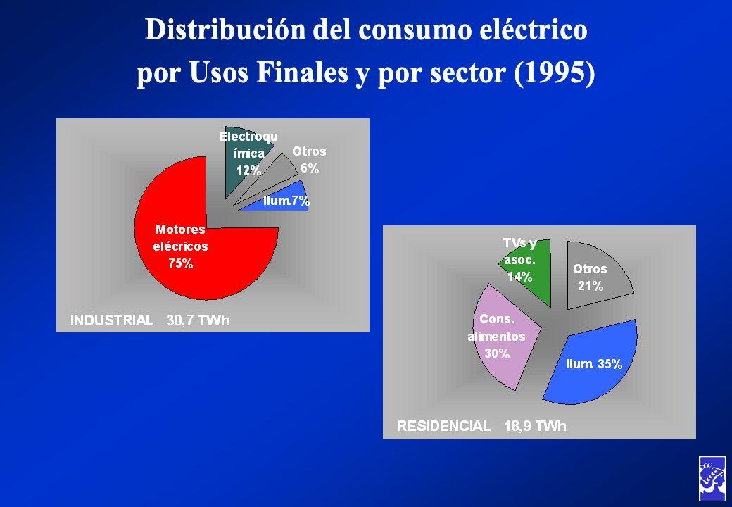 Distribución del consumo eléctrico por Usos Finales y por sector (1995) Distribución del consumo eléctrico por Usos Finales y por sector (1995)
