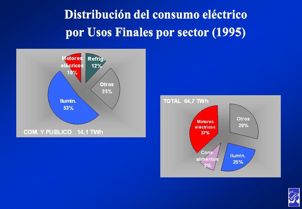 Distribución del consumo eléctrico por Usos Finales por sector (1995) Distribución del consumo eléctrico por Usos Finales por sector (1995)