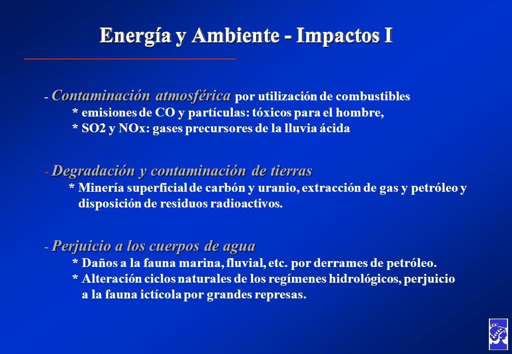 Energía y Ambiente - Impactos I Contaminación atmosférica - Contaminación atmosférica por utilización de combustibles * emisiones de CO y partículas: