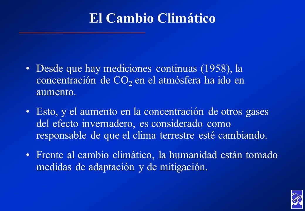 El Cambio Climático Desde que hay mediciones continuas (1958), la concentración de CO 2 en el atmósfera ha ido en aumento. Esto, y el aumento en la co