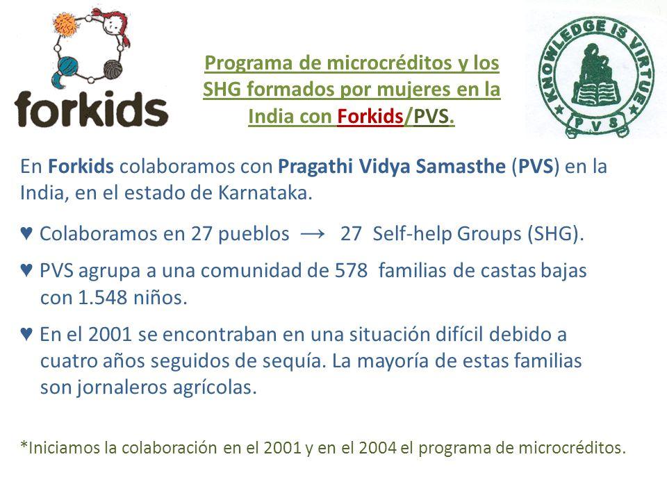 En Forkids colaboramos con Pragathi Vidya Samasthe (PVS) en la India, en el estado de Karnataka. Colaboramos en 27 pueblos 27 Self-help Groups (SHG).