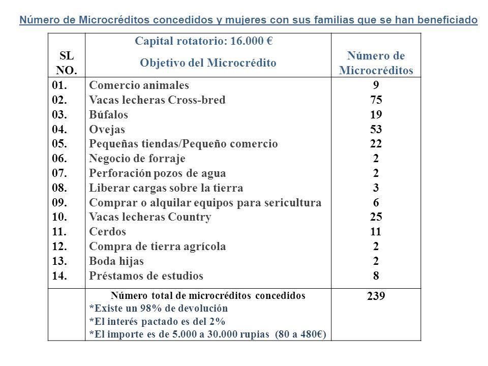 SL NO. Capital rotatorio: 16.000 Objetivo del Microcrédito Número de Microcréditos 01. 02. 03. 04. 05. 06. 07. 08. 09. 10. 11. 12. 13. 14. Comercio an