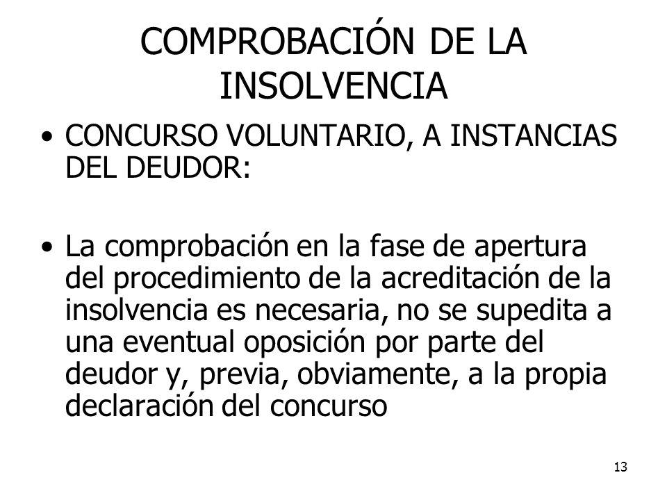 13 COMPROBACIÓN DE LA INSOLVENCIA CONCURSO VOLUNTARIO, A INSTANCIAS DEL DEUDOR: La comprobación en la fase de apertura del procedimiento de la acredit