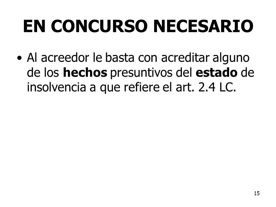 15 EN CONCURSO NECESARIO Al acreedor le basta con acreditar alguno de los hechos presuntivos del estado de insolvencia a que refiere el art. 2.4 LC.