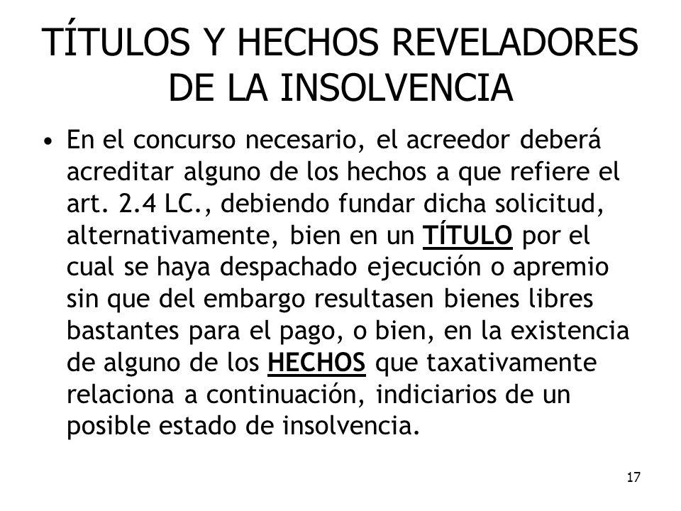 17 TÍTULOS Y HECHOS REVELADORES DE LA INSOLVENCIA En el concurso necesario, el acreedor deberá acreditar alguno de los hechos a que refiere el art. 2.