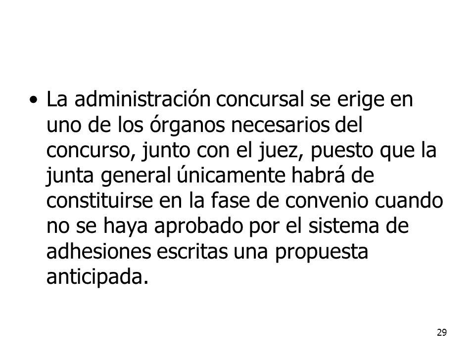 29 La administración concursal se erige en uno de los órganos necesarios del concurso, junto con el juez, puesto que la junta general únicamente habrá