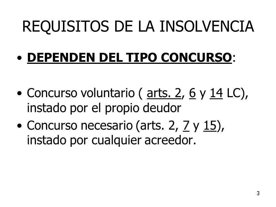 3 REQUISITOS DE LA INSOLVENCIA DEPENDEN DEL TIPO CONCURSO: Concurso voluntario ( arts. 2, 6 y 14 LC), instado por el propio deudor Concurso necesario