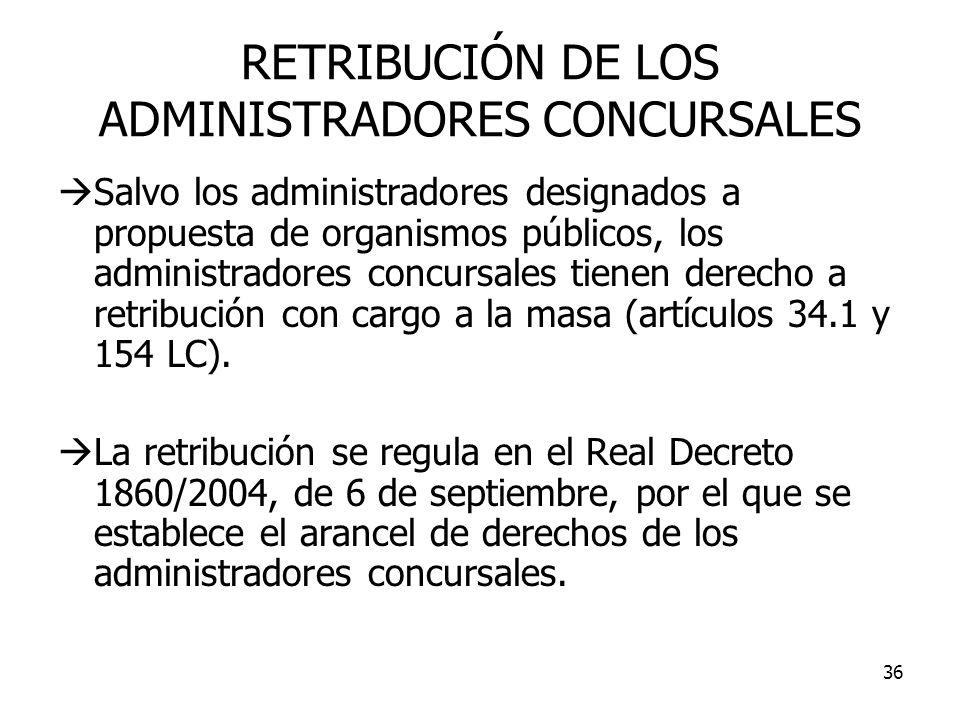 36 RETRIBUCIÓN DE LOS ADMINISTRADORES CONCURSALES Salvo los administradores designados a propuesta de organismos públicos, los administradores concurs