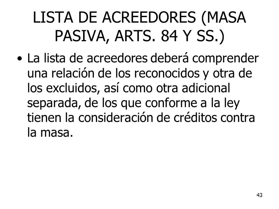 43 LISTA DE ACREEDORES (MASA PASIVA, ARTS. 84 Y SS.) La lista de acreedores deberá comprender una relación de los reconocidos y otra de los excluidos,
