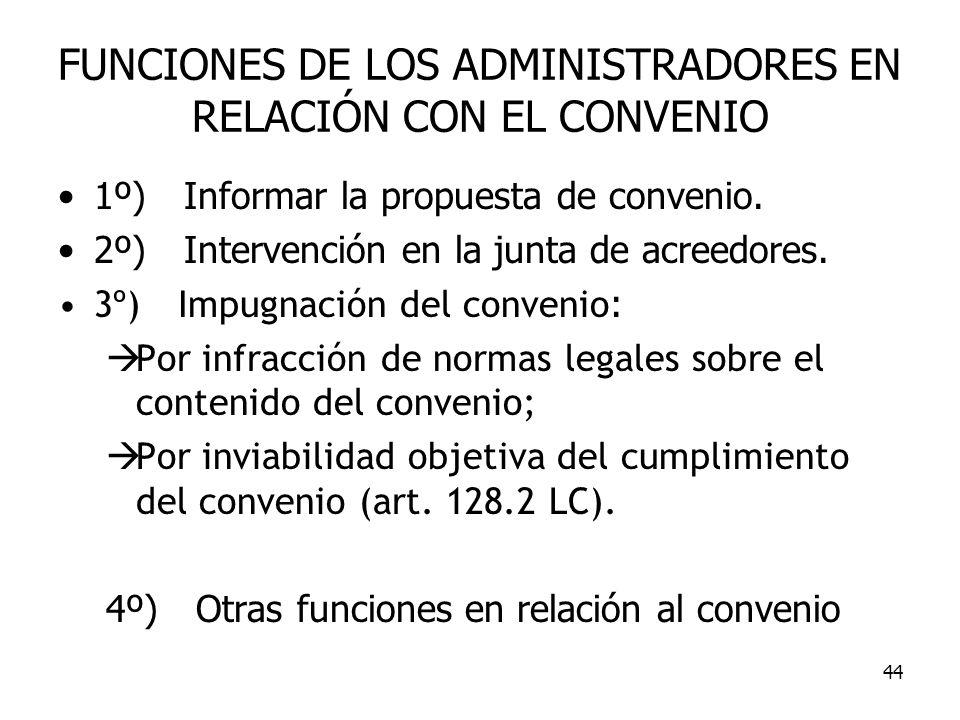 44 FUNCIONES DE LOS ADMINISTRADORES EN RELACIÓN CON EL CONVENIO 1º) Informar la propuesta de convenio. 2º) Intervención en la junta de acreedores. 3º)