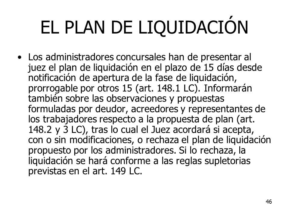 46 EL PLAN DE LIQUIDACIÓN Los administradores concursales han de presentar al juez el plan de liquidación en el plazo de 15 días desde notificación de
