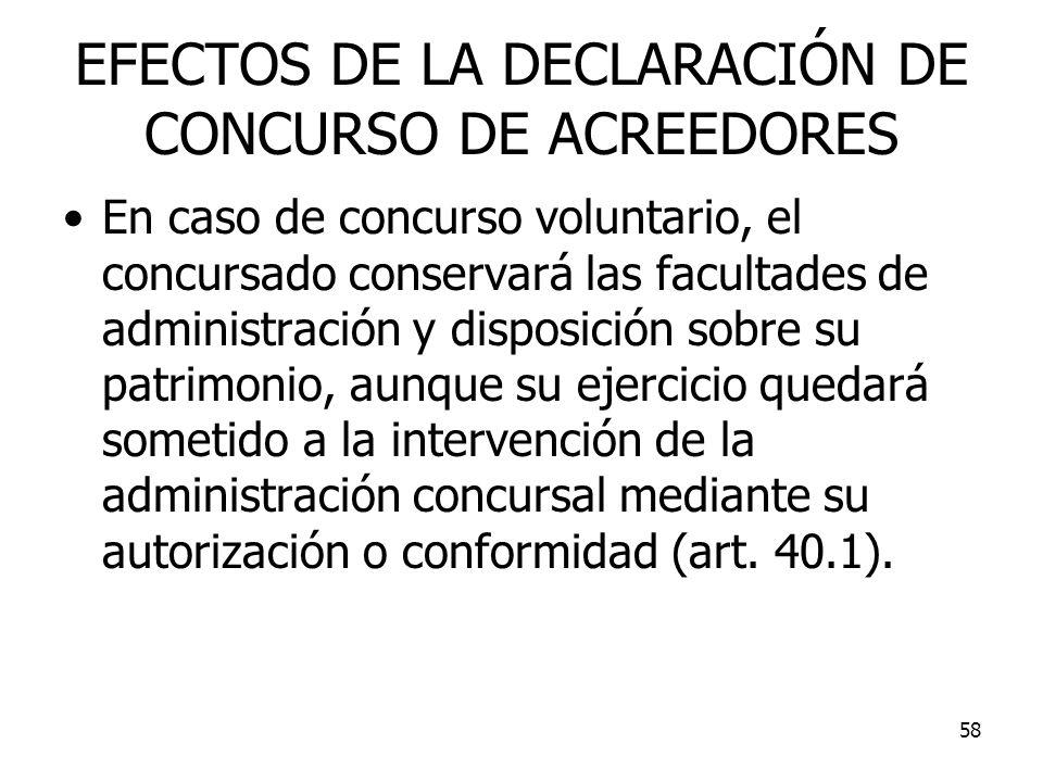 58 EFECTOS DE LA DECLARACIÓN DE CONCURSO DE ACREEDORES En caso de concurso voluntario, el concursado conservará las facultades de administración y dis