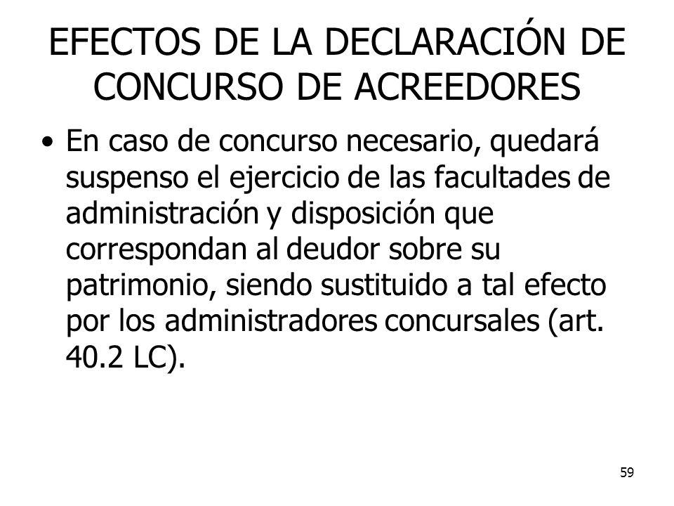 59 EFECTOS DE LA DECLARACIÓN DE CONCURSO DE ACREEDORES En caso de concurso necesario, quedará suspenso el ejercicio de las facultades de administració