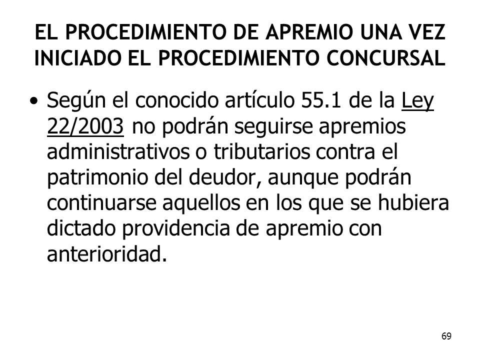 69 EL PROCEDIMIENTO DE APREMIO UNA VEZ INICIADO EL PROCEDIMIENTO CONCURSAL Según el conocido artículo 55.1 de la Ley 22/2003 no podrán seguirse apremi