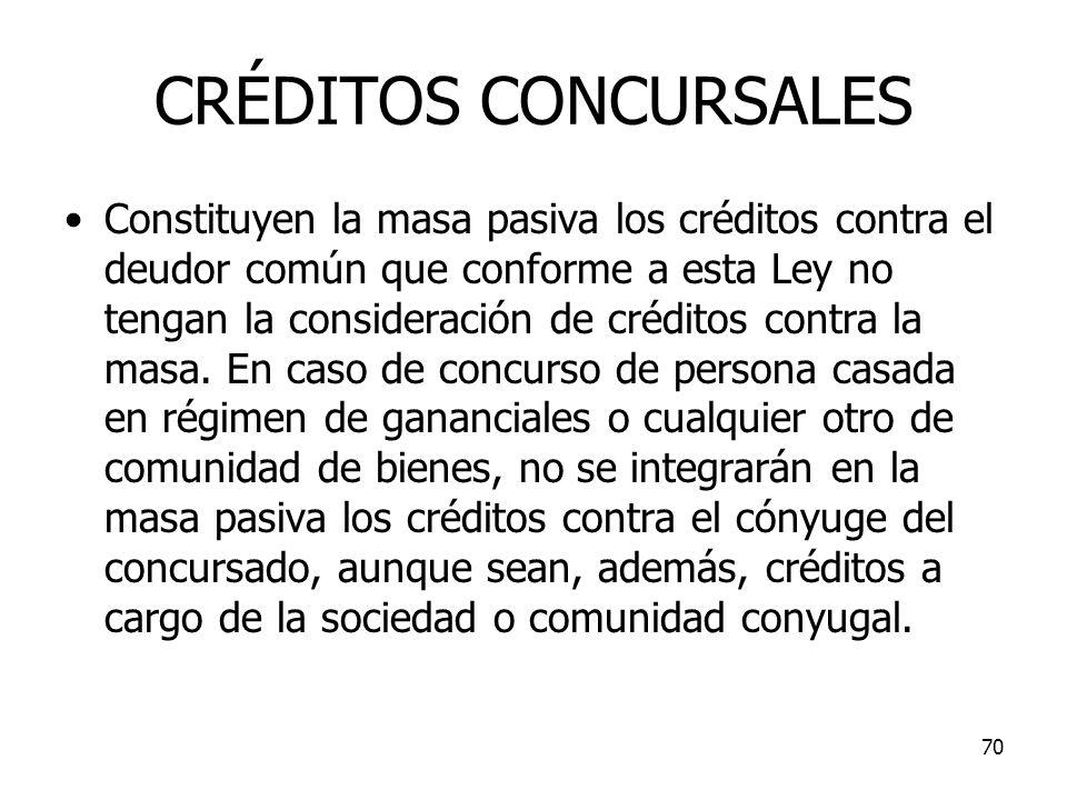 70 CRÉDITOS CONCURSALES Constituyen la masa pasiva los créditos contra el deudor común que conforme a esta Ley no tengan la consideración de créditos