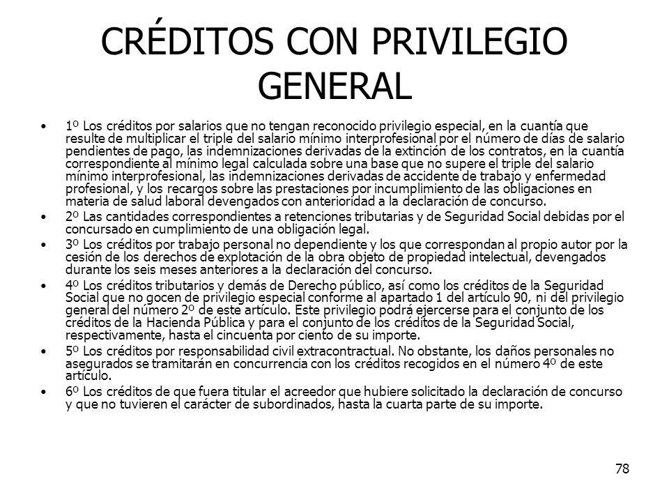 78 CRÉDITOS CON PRIVILEGIO GENERAL 1º Los créditos por salarios que no tengan reconocido privilegio especial, en la cuantía que resulte de multiplicar