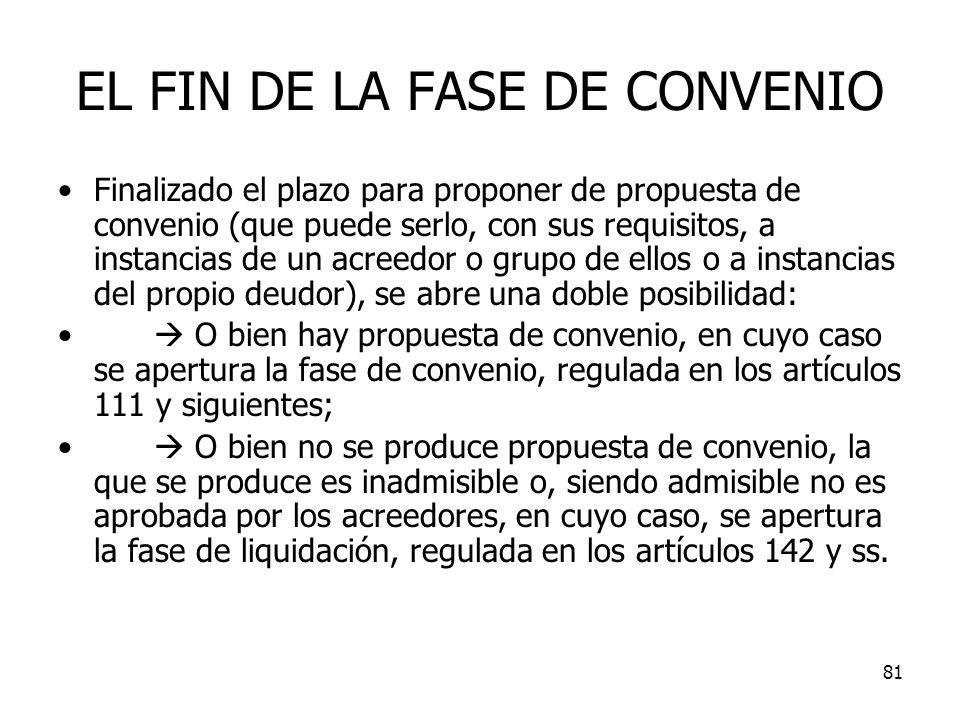 81 EL FIN DE LA FASE DE CONVENIO Finalizado el plazo para proponer de propuesta de convenio (que puede serlo, con sus requisitos, a instancias de un a
