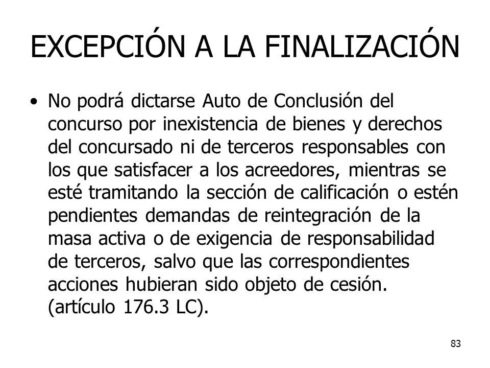 83 EXCEPCIÓN A LA FINALIZACIÓN No podrá dictarse Auto de Conclusión del concurso por inexistencia de bienes y derechos del concursado ni de terceros r