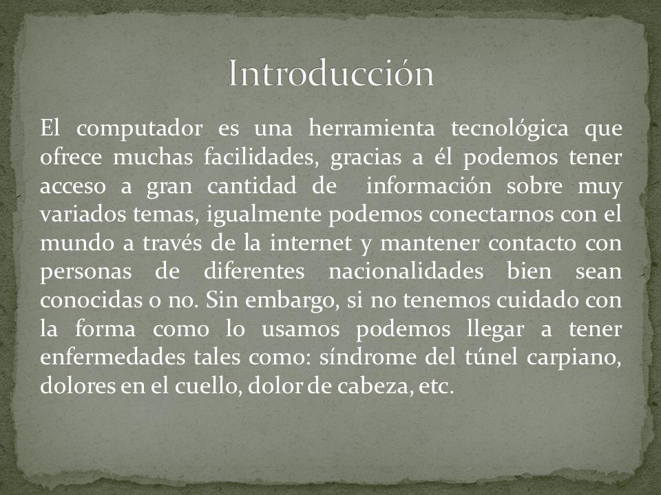 El computador es una herramienta tecnológica que ofrece muchas facilidades, gracias a él podemos tener acceso a gran cantidad de información sobre muy