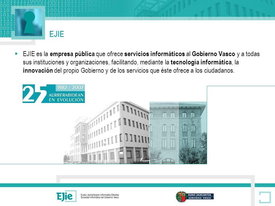 EJIE EJIE es la empresa pública que ofrece servicios informáticos al Gobierno Vasco y a todas sus instituciones y organizaciones, facilitando, mediante la tecnología informática, la innovación del propio Gobierno y de los servicios que éste ofrece a los ciudadanos.