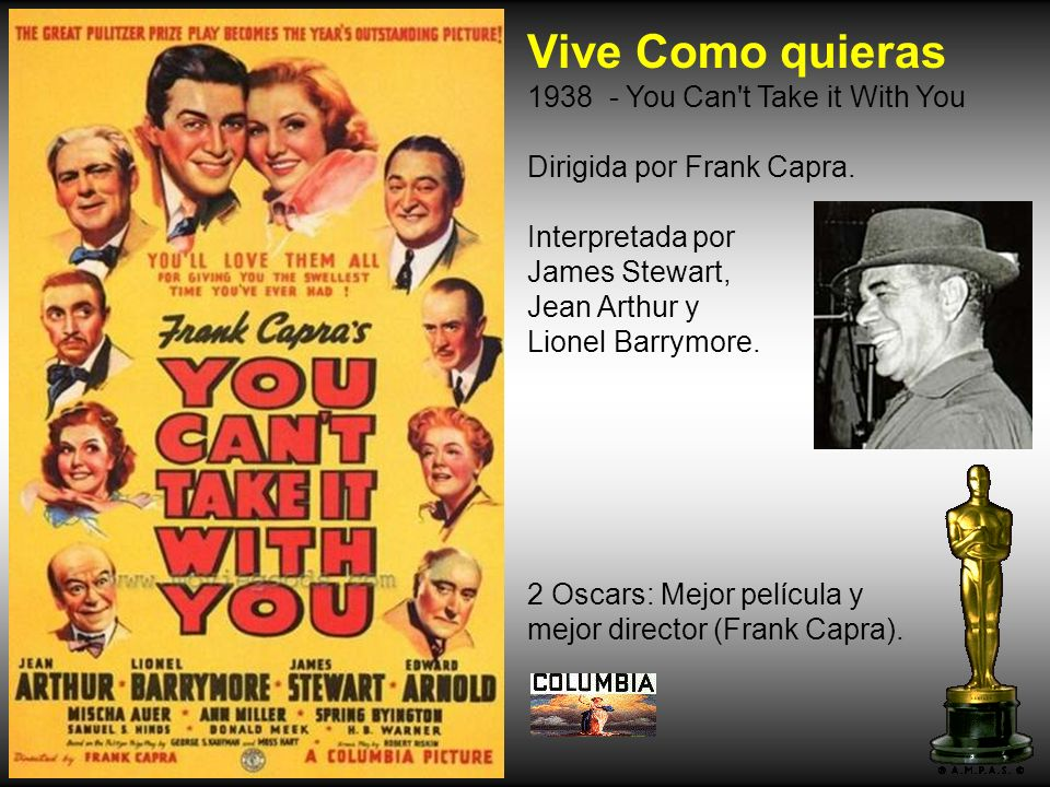 Vive Como quieras 1938 - You Can t Take it With You Dirigida por Frank Capra.