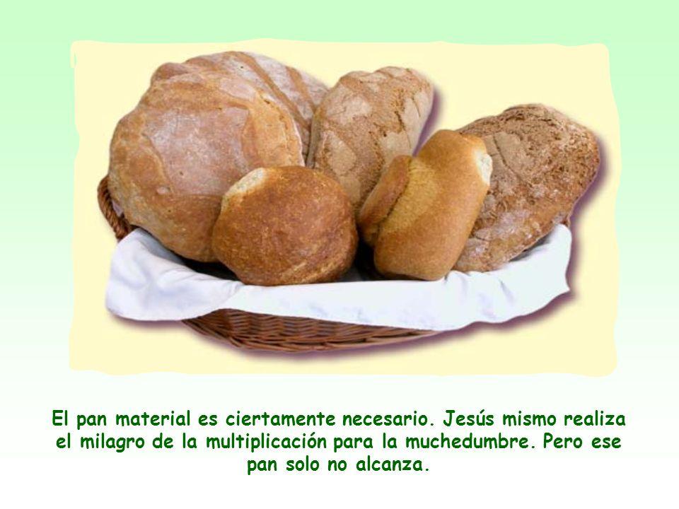 Al aplicar a sí mismo la imagen del pan, Jesús quiere decirnos que su persona y su enseñanza son indispensables para la vida espiritual del hombre, ta