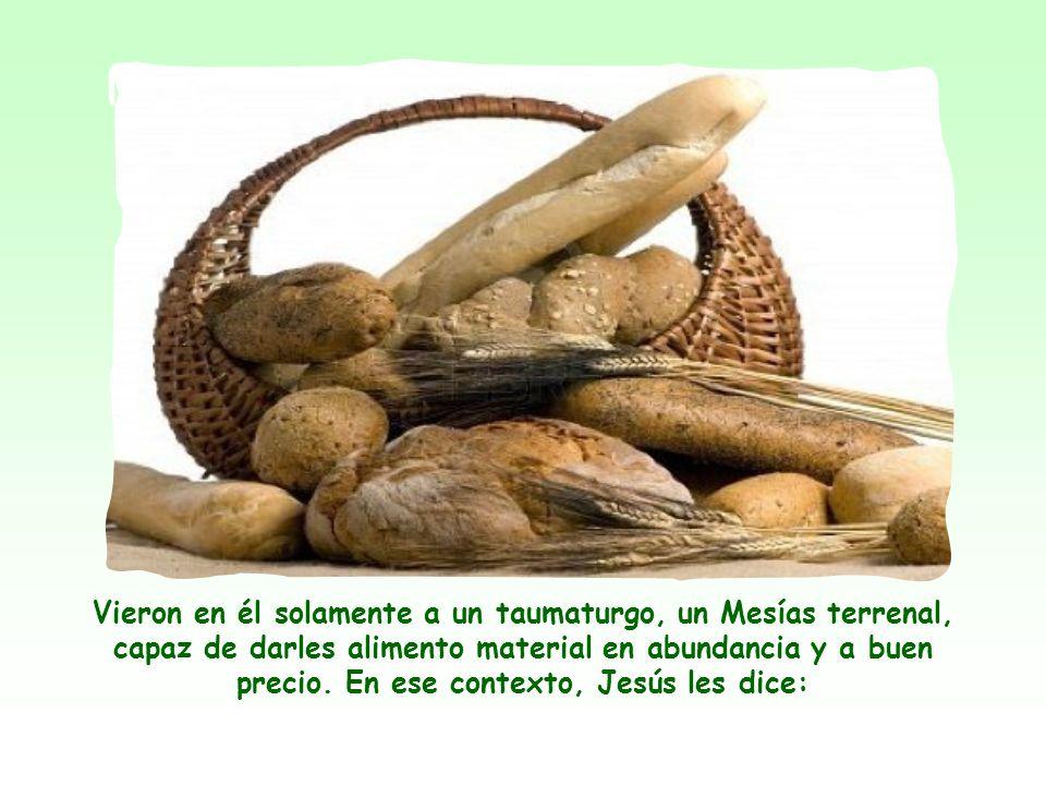 Ellos habían comido el pan milagroso, pero se quedaron en las meras ventajas materiales sin percibir el significado profundo de ese pan que manifiesta en Jesús al enviado del Padre, el que da la verdadera vida al mundo.