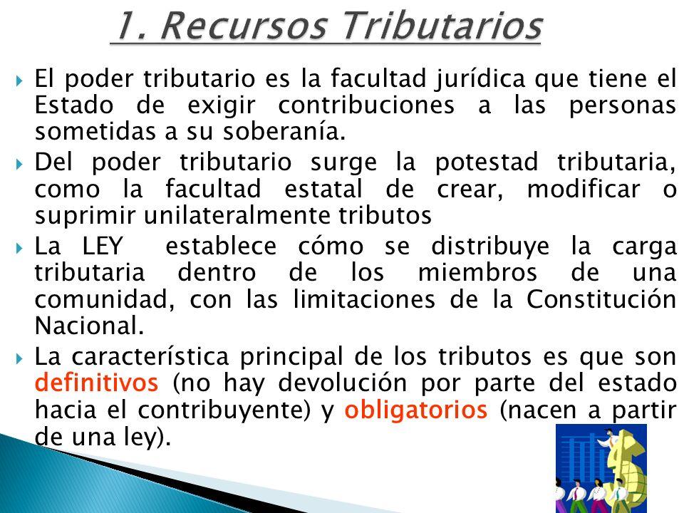 1. Recursos Tributarios El poder tributario es la facultad jurídica que tiene el Estado de exigir contribuciones a las personas sometidas a su soberan