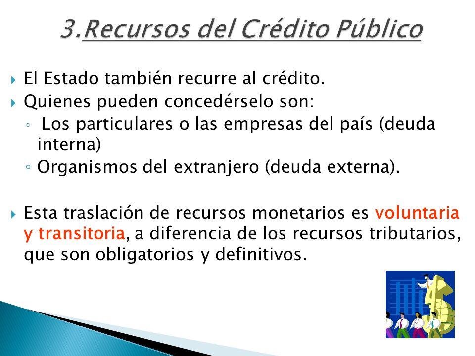 3.Recursos del Crédito Público El Estado también recurre al crédito. Quienes pueden concedérselo son: Los particulares o las empresas del país (deuda