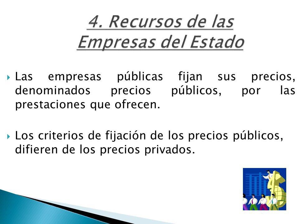 4. Recursos de las Empresas del Estado Las empresas públicas fijan sus precios, denominados precios públicos, por las prestaciones que ofrecen. Los cr