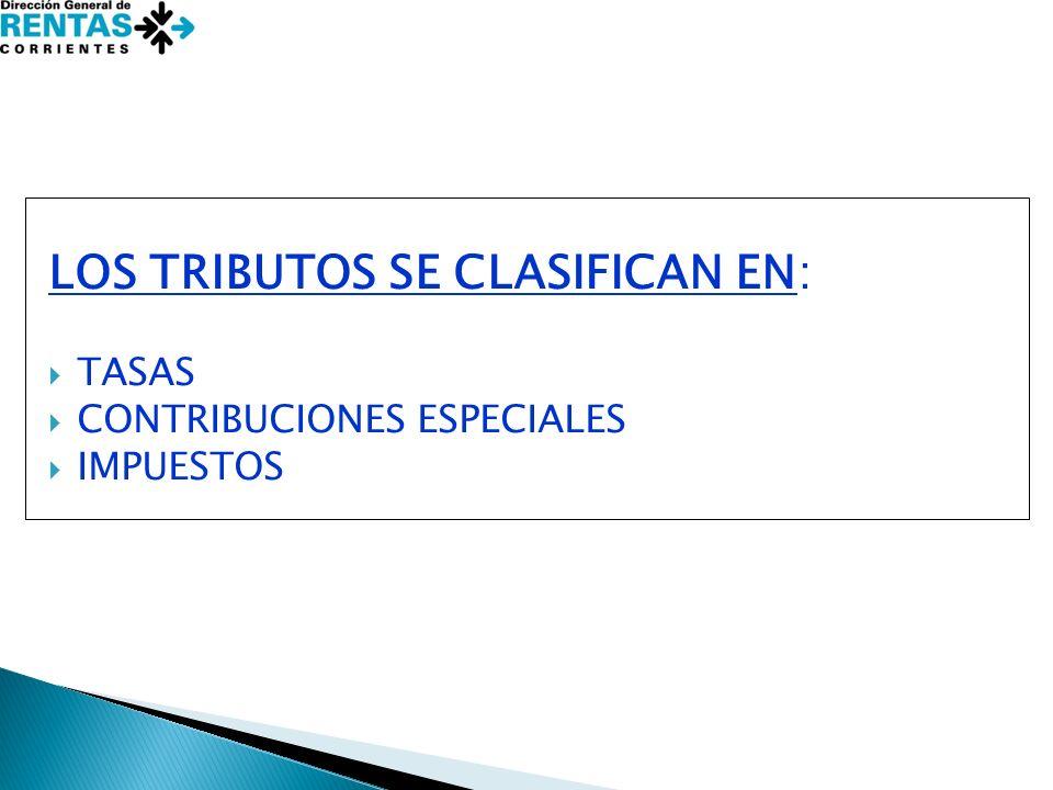 LOS TRIBUTOS SE CLASIFICAN EN: TASAS CONTRIBUCIONES ESPECIALES IMPUESTOS