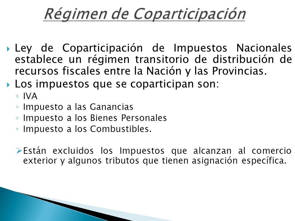 Régimen de Coparticipación Ley de Coparticipación de Impuestos Nacionales establece un régimen transitorio de distribución de recursos fiscales entre