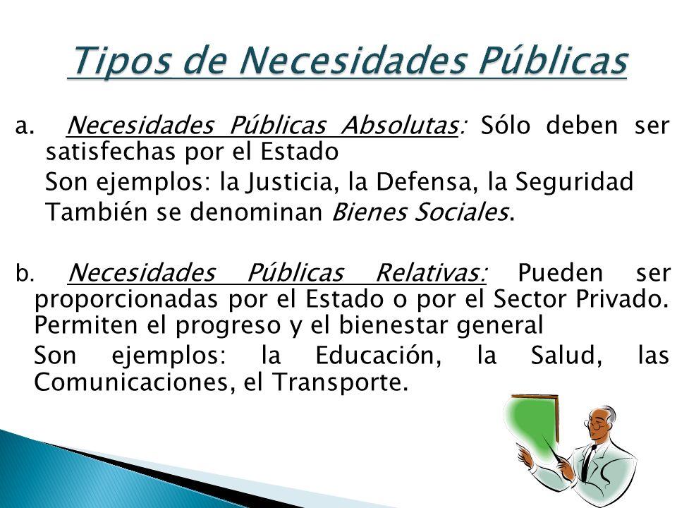 Tipos de Necesidades Públicas a. Necesidades Públicas Absolutas: Sólo deben ser satisfechas por el Estado Son ejemplos: la Justicia, la Defensa, la Se