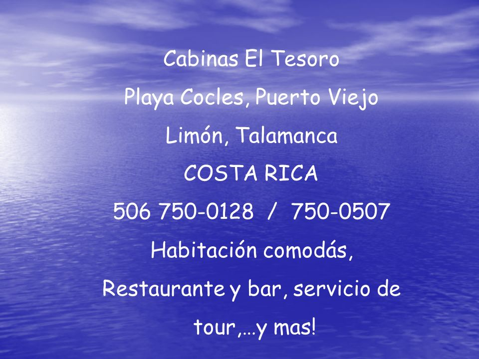 Cabinas El Tesoro Playa Cocles, Puerto Viejo Limón, Talamanca COSTA RICA 506 750-0128 / 750-0507 Habitación comodás, Restaurante y bar, servicio de to